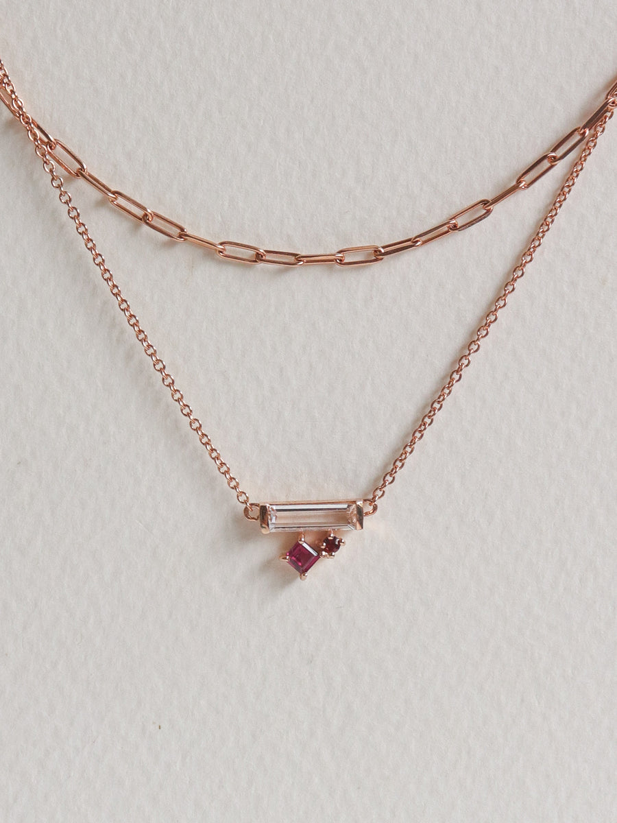 Kirsten Layered Necklace - Rhodolite (Rose Gold)