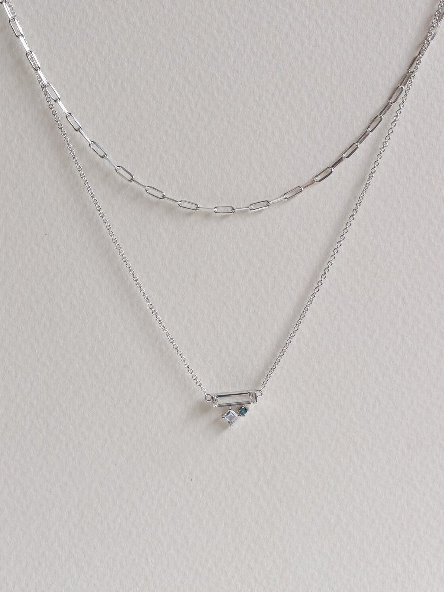 Kirsten Layered Necklace - Blue Topaz (Silver)