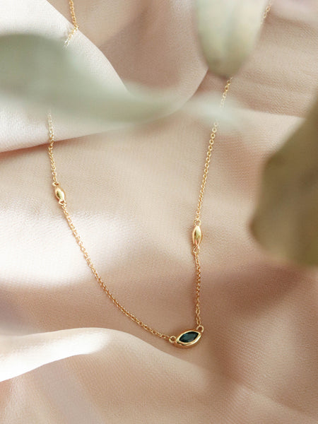 Louise Necklace - London Blue Topaz Marquise in Gold