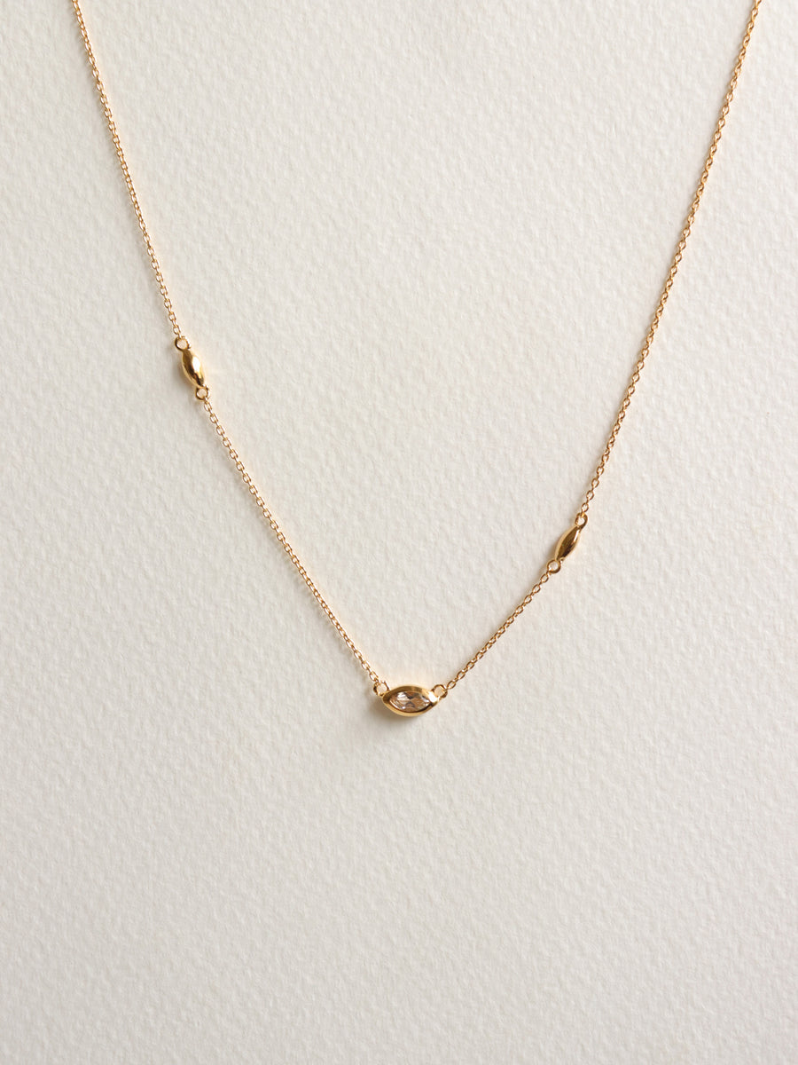 Louise Necklace - White Topaz Marquise in Gold