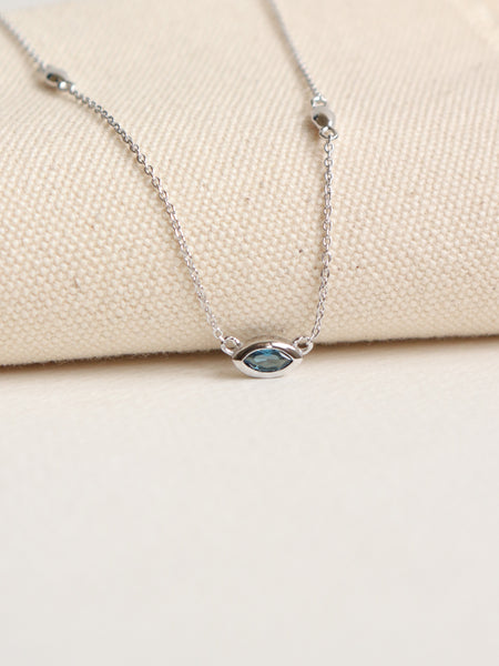 Louise Necklace - London Blue Topaz Marquise in Silver