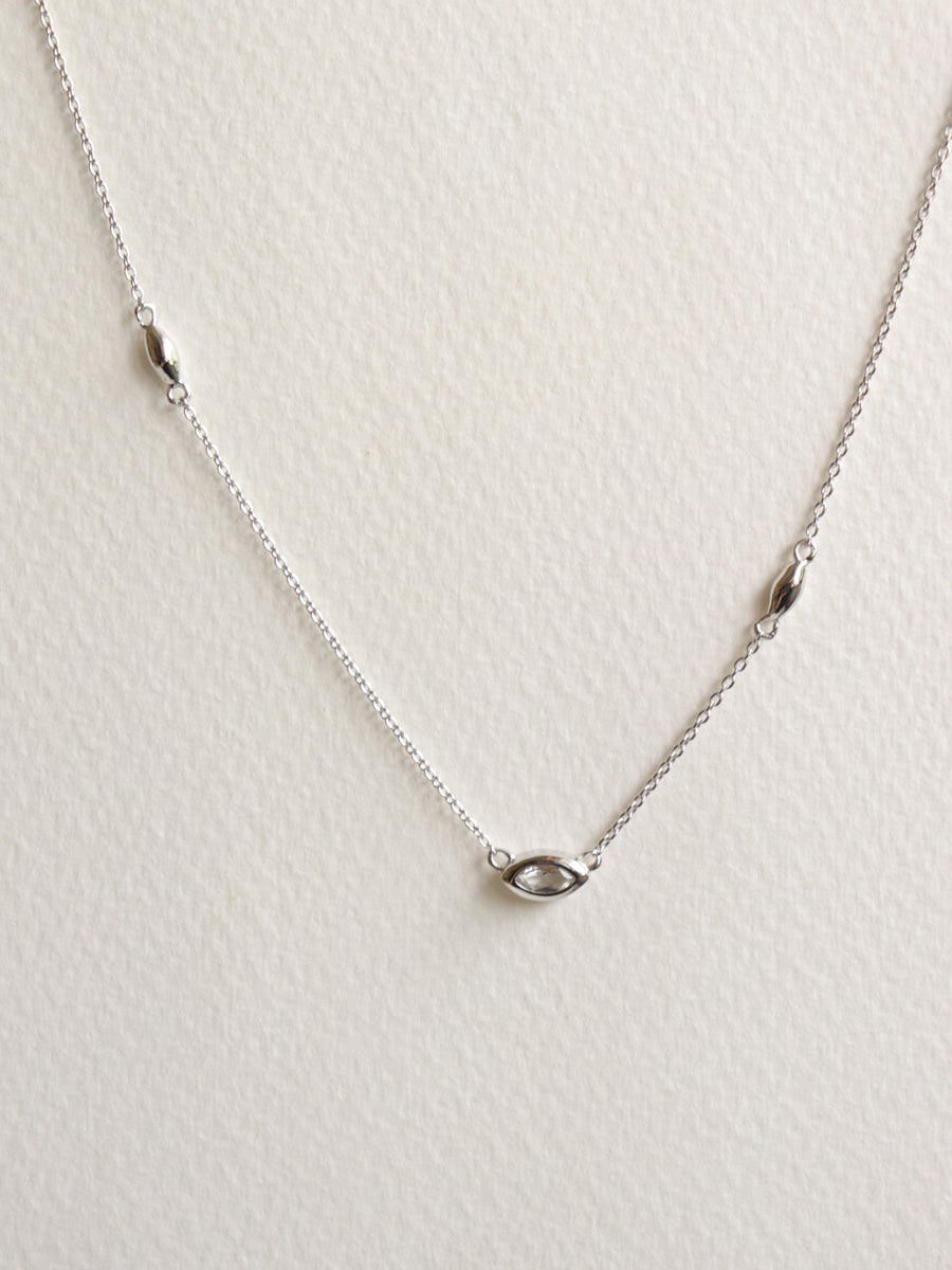 Louise Necklace - White Topaz Marquise in Silver