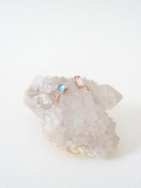 Ashley - Blue Chalcedony in Rose Gold