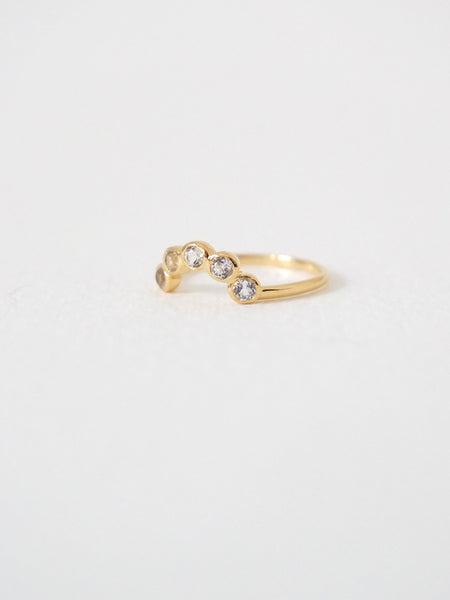 The Curve Ring - White Topaz on Gold