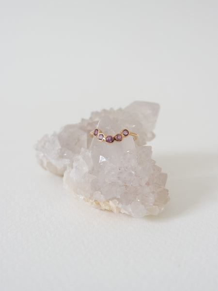 The Curve Ring - Amethyst on Gold