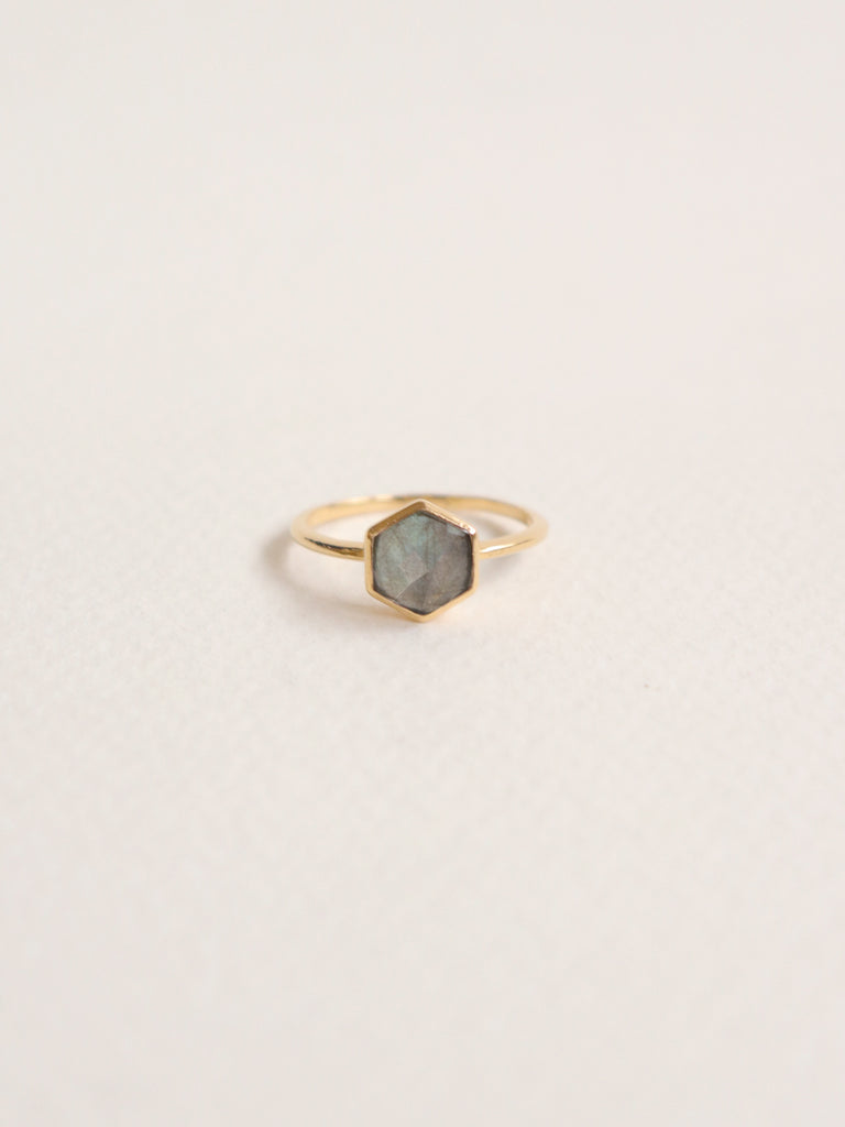 Fayth - Hexagon Labradorite in Gold