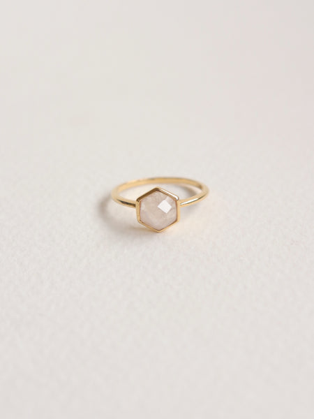 Fayth - Hexagon Moonstone in Gold