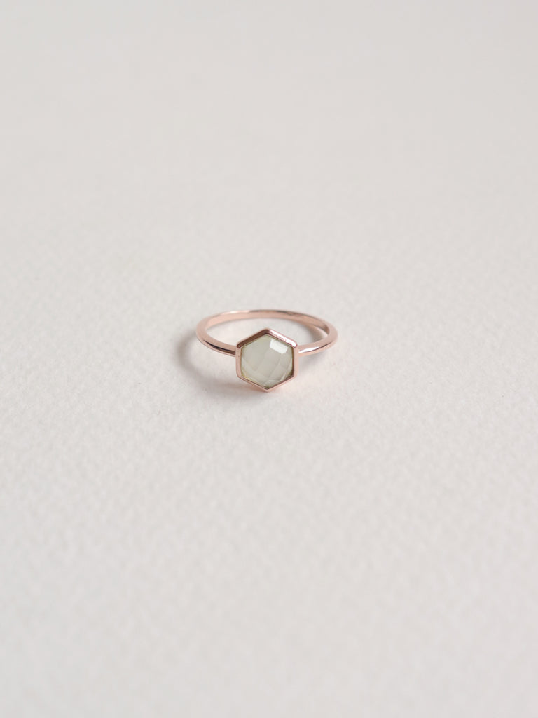 Fayth - Hexagon Chalcedony in Rose Gold