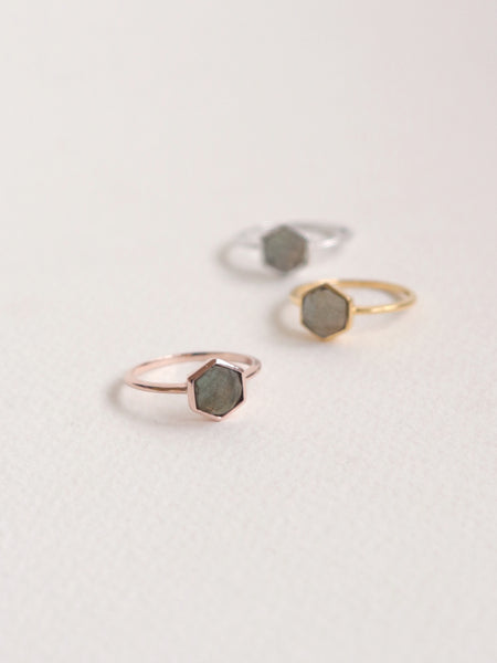 Fayth - Hexagon Labradorite in Rose Gold