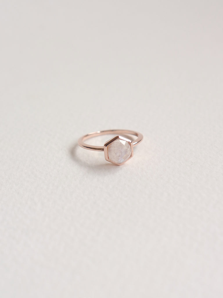 Fayth - Hexagon Moonstone in Rose Gold