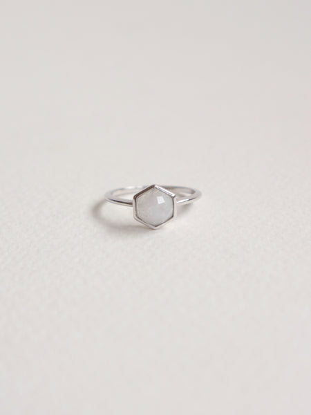 Fayth - Hexagon Moonstone in Silver