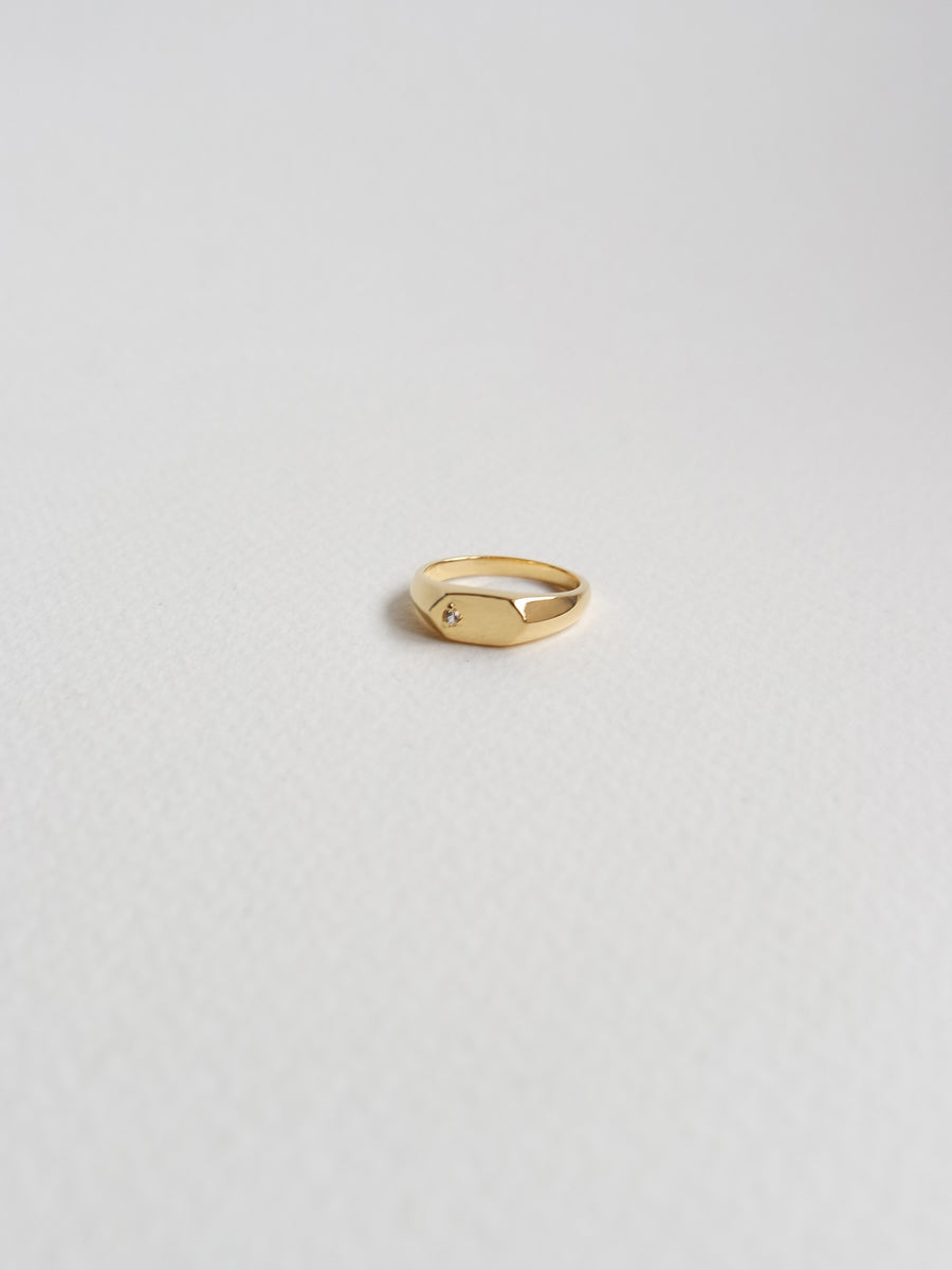 Frances - Signet Ring with White Topaz in Gold