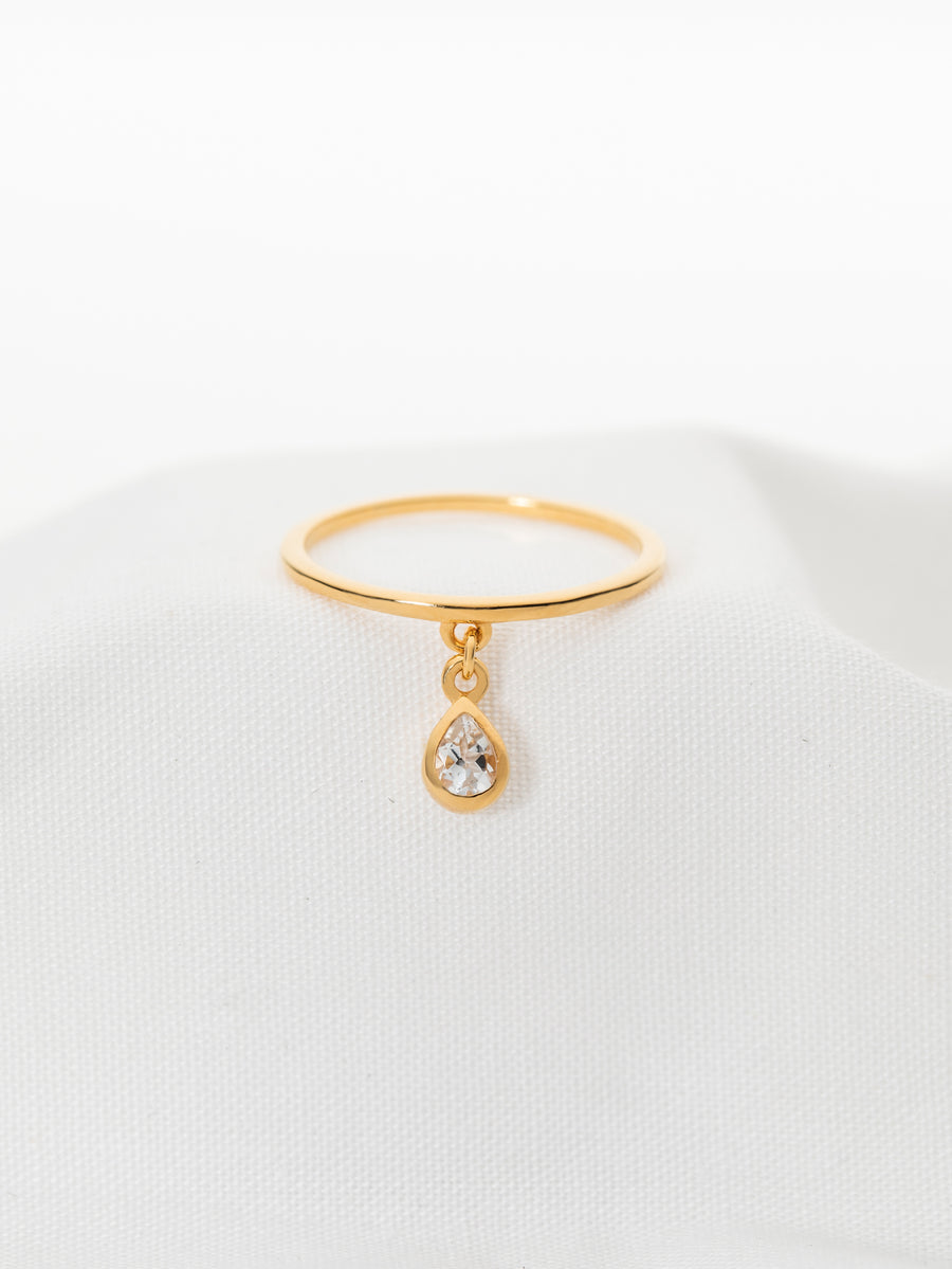 Hayly Drop Ring - White Topaz (Gold)
