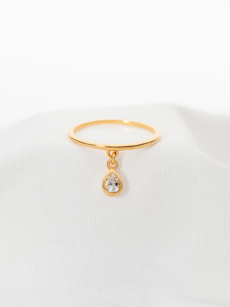 Hayly Ring - White Topaz Drop in Gold