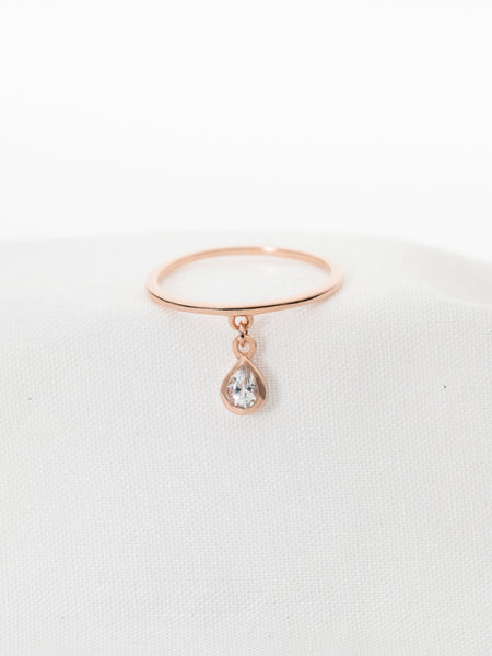 Hayly Ring - White Topaz Drop in Rose Gold