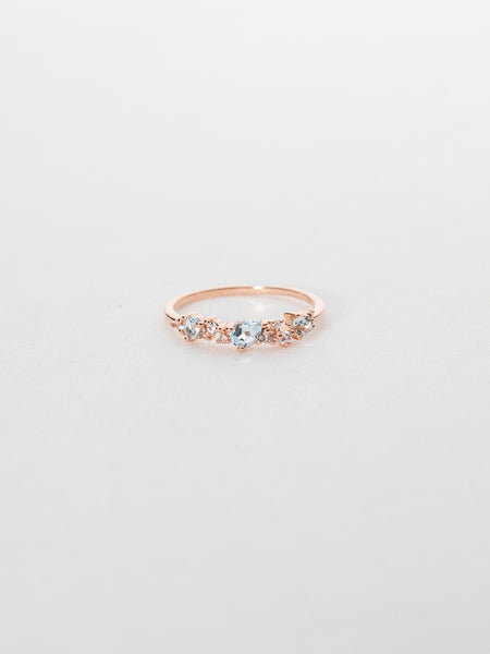 Hope - Sky Blue Topaz and White Topaz in Rose Gold