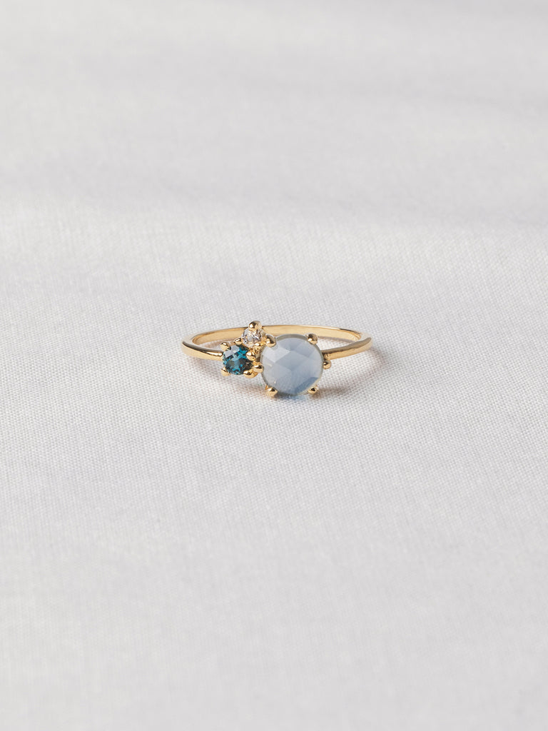 Jayne Cluster Ring - Blue Chalcedony, London Blue Topaz and White Topaz on Gold