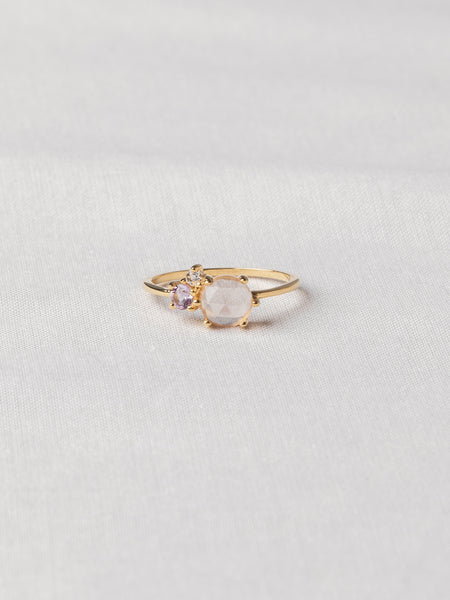 Jayne Cluster Ring - Rose Quartz, Pink Amethyst and White Topaz on Gold