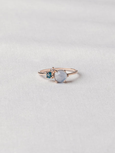 Jayne Cluster Ring - Blue Chalcedony, London Blue Topaz and White Topaz on Rose Gold