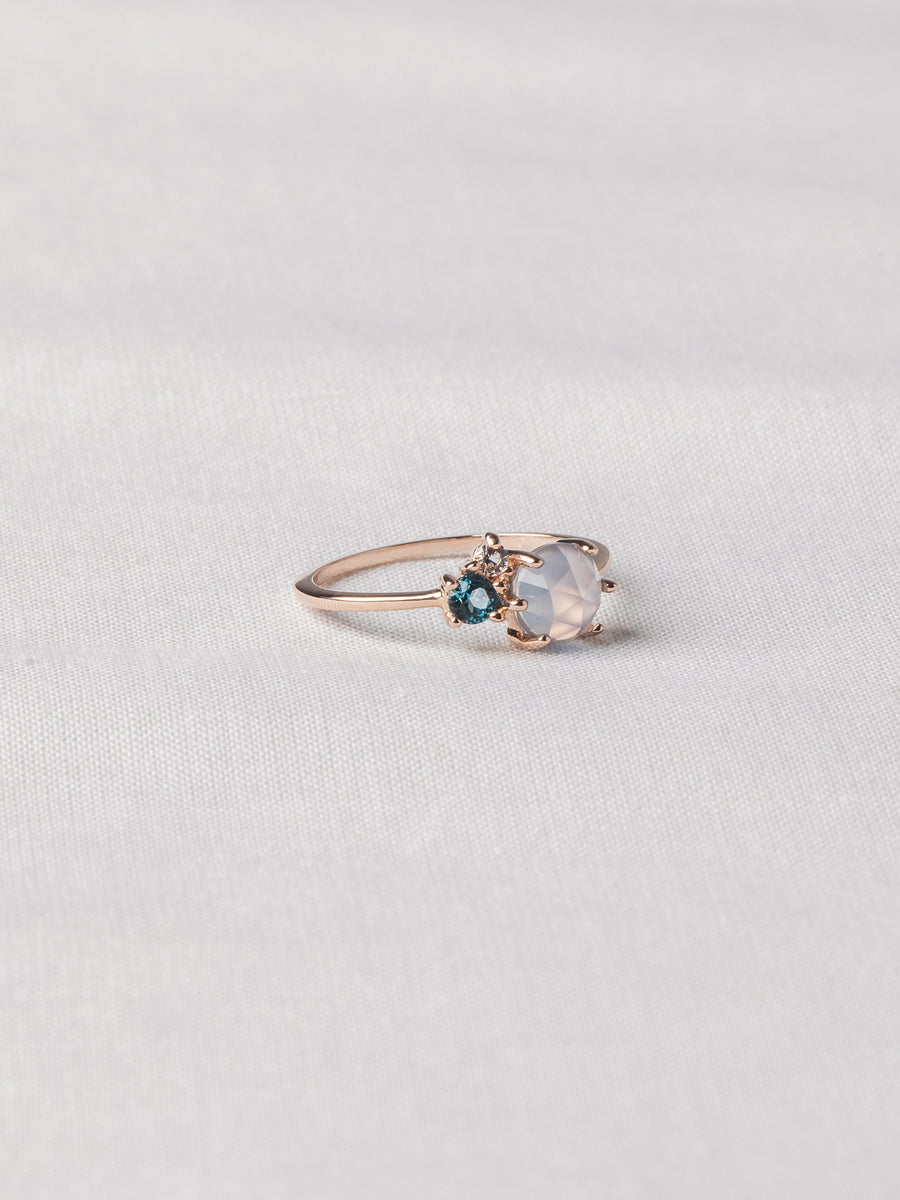 Jayne Ring - Blue Chalcedony (Rose Gold)
