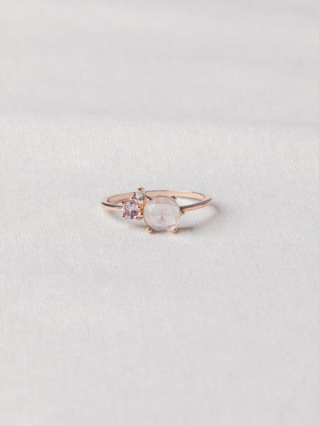 Jayne Cluster Ring - Rose Quartz, Pink Amethyst and White Topaz on Rose Gold
