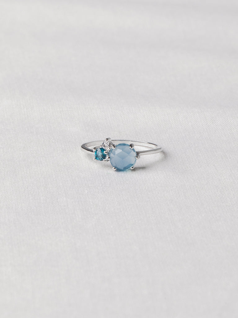 Jayne Cluster Ring - Blue Chalcedony, London Blue Topaz and White Topaz on Silver