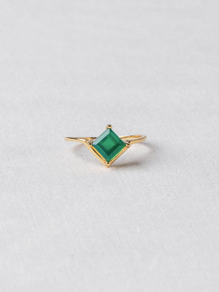 Jeri Ring - Green Onyx on Gold