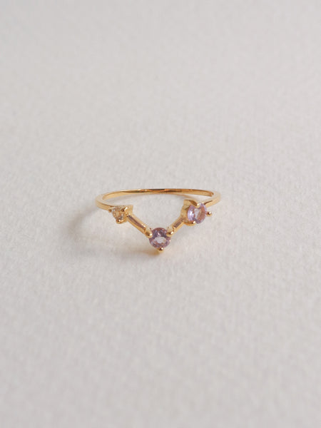 Joelle Ring - Pink Amethyst and White Topaz on Gold