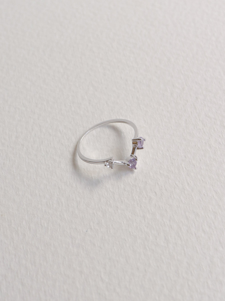 Joelle Ring - Pink Amethyst and White Topaz on Silver