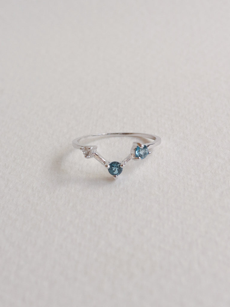 Joelle Ring - London Blue Topaz and White Topaz on Silver