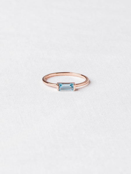 Joni Ring - Sky Blue Topaz on Rose Gold