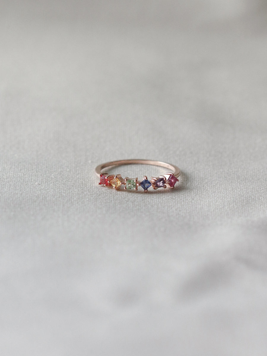 Konfetti Ring - Multi Colored Sapphire and Ruby (Rose Gold)