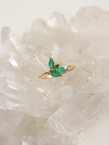 Laura - Green Onyx Marquise in Gold