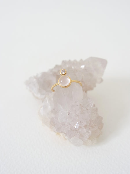 The Orb Ring - Rose Quartz on Gold