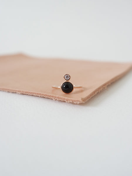The Orb Ring - Onyx on Rose Gold