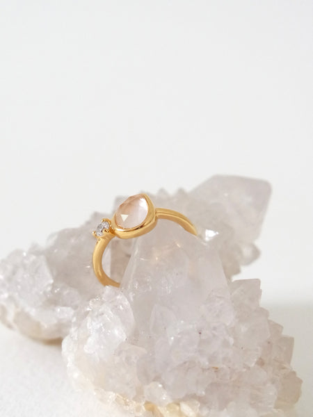 Reina - Rose Quartz on Gold
