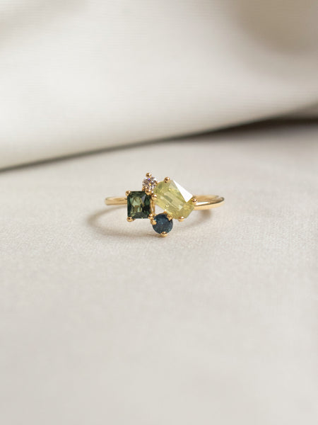One-of-a-Kind Cluster Ring - Parti Sapphires and Diamond in 18k Gold