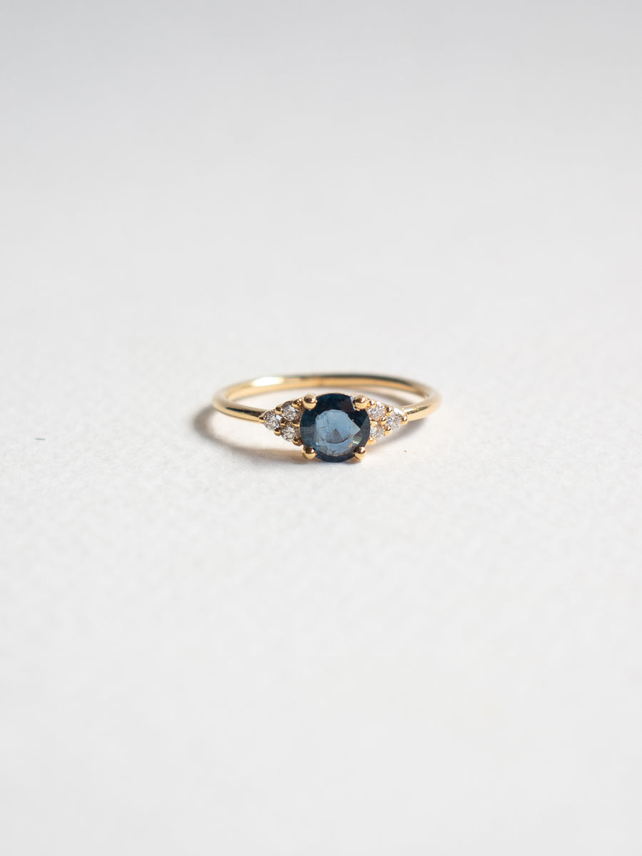 One-of-a-kind Companion Ring - Blue Parti Sapphire and Diamonds in 18k Gold