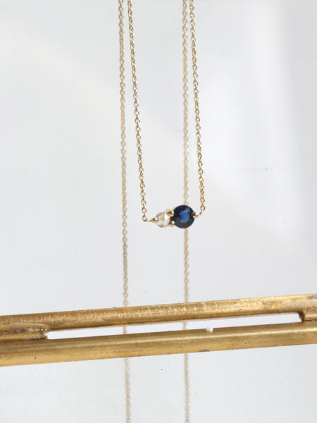 Duo Necklace - White and Blue Sapphire in 18k Gold