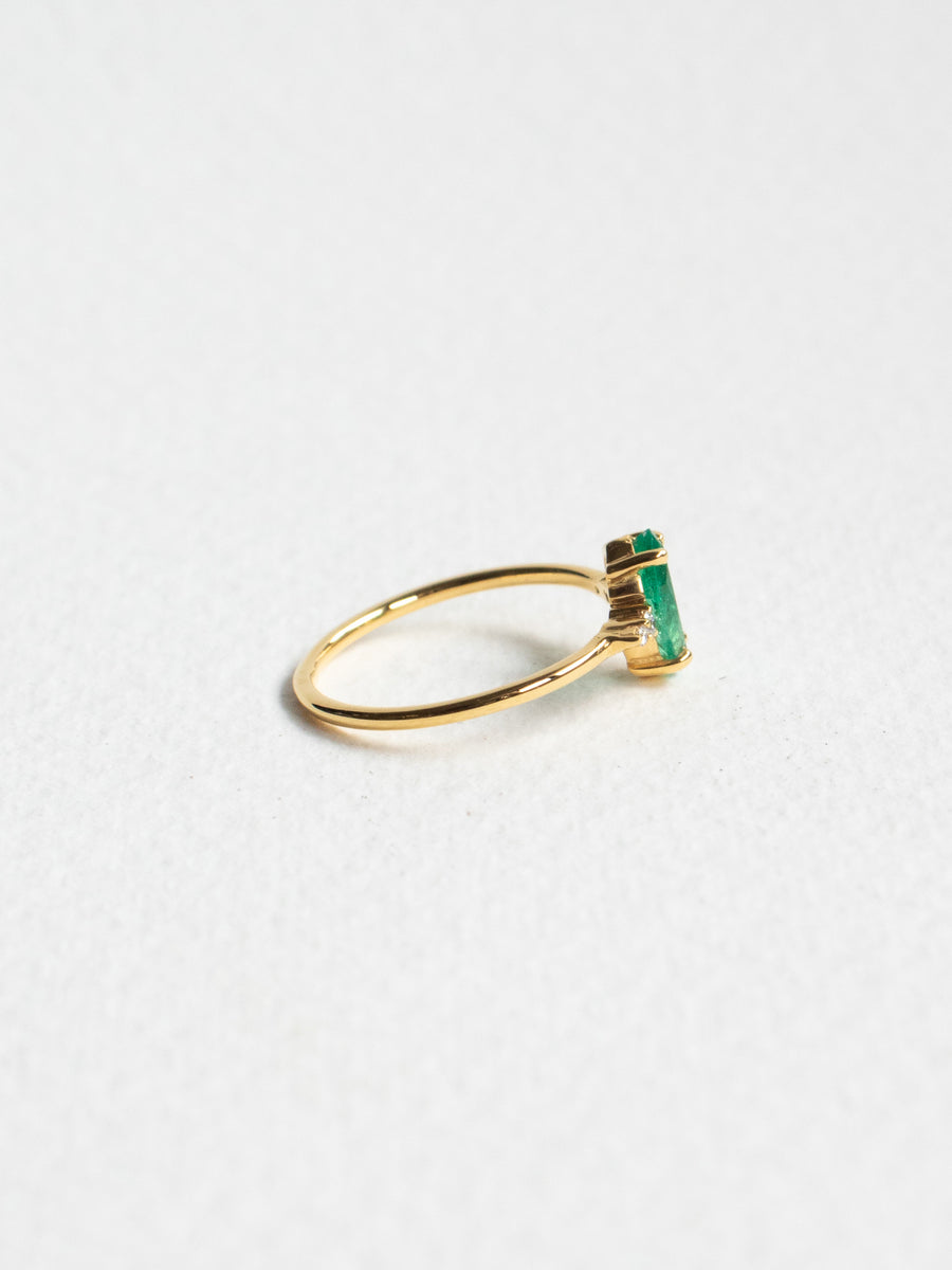 First Love - Marquise Cut Emerald and Diamonds in 18k Gold