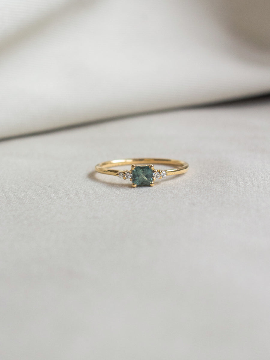 First Love Ring - Mint Parti Sapphire and Diamonds in 18k Gold