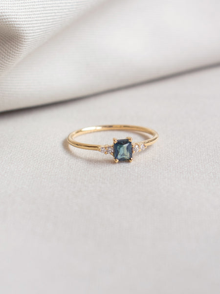 First Love Ring - Teal Parti Sapphire and Diamonds in 18k Gold