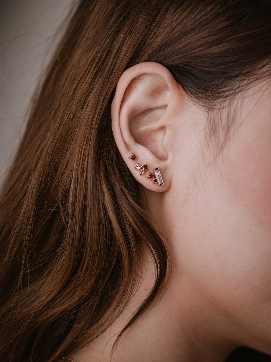 Keira Ear Stud Stacking Set - Rhodolite (Silver)