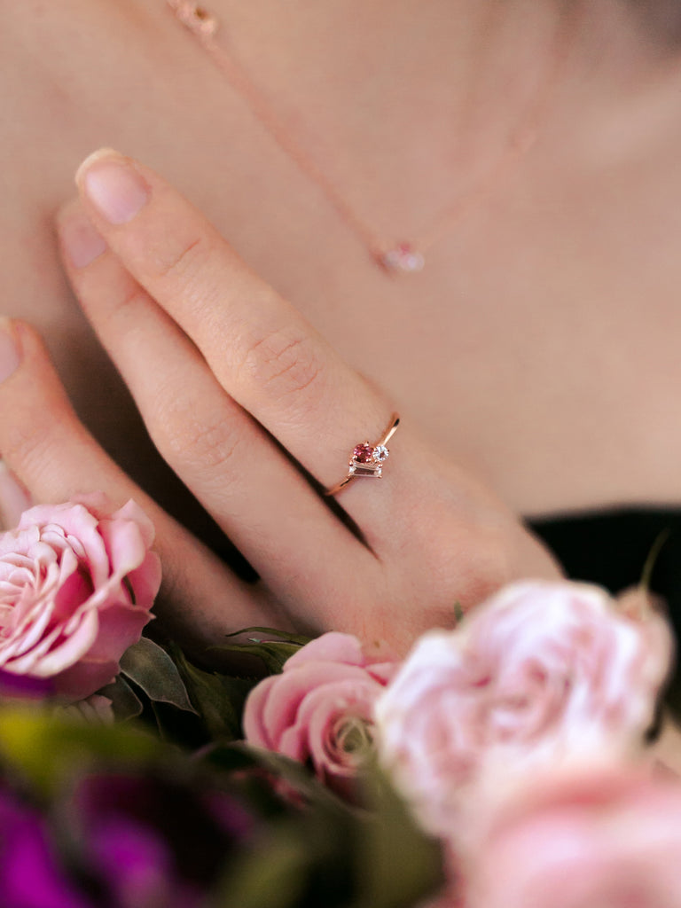 Strange x Curious - Cluster Ring - Cranberry Tourmaline in Rose Gold
