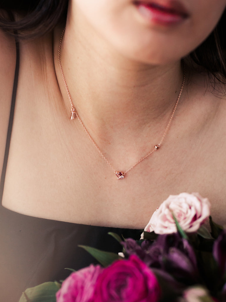 Strange x Curious - Asymmetrical Necklace - Cranberry Tourmaline in Rose Gold