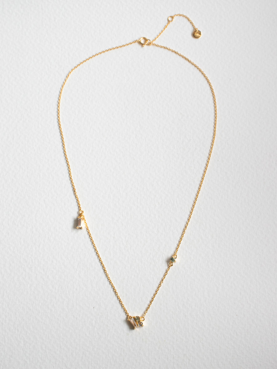 Strange x Curious - Asymmetrical Necklace - Dew Green Sapphire (Gold)