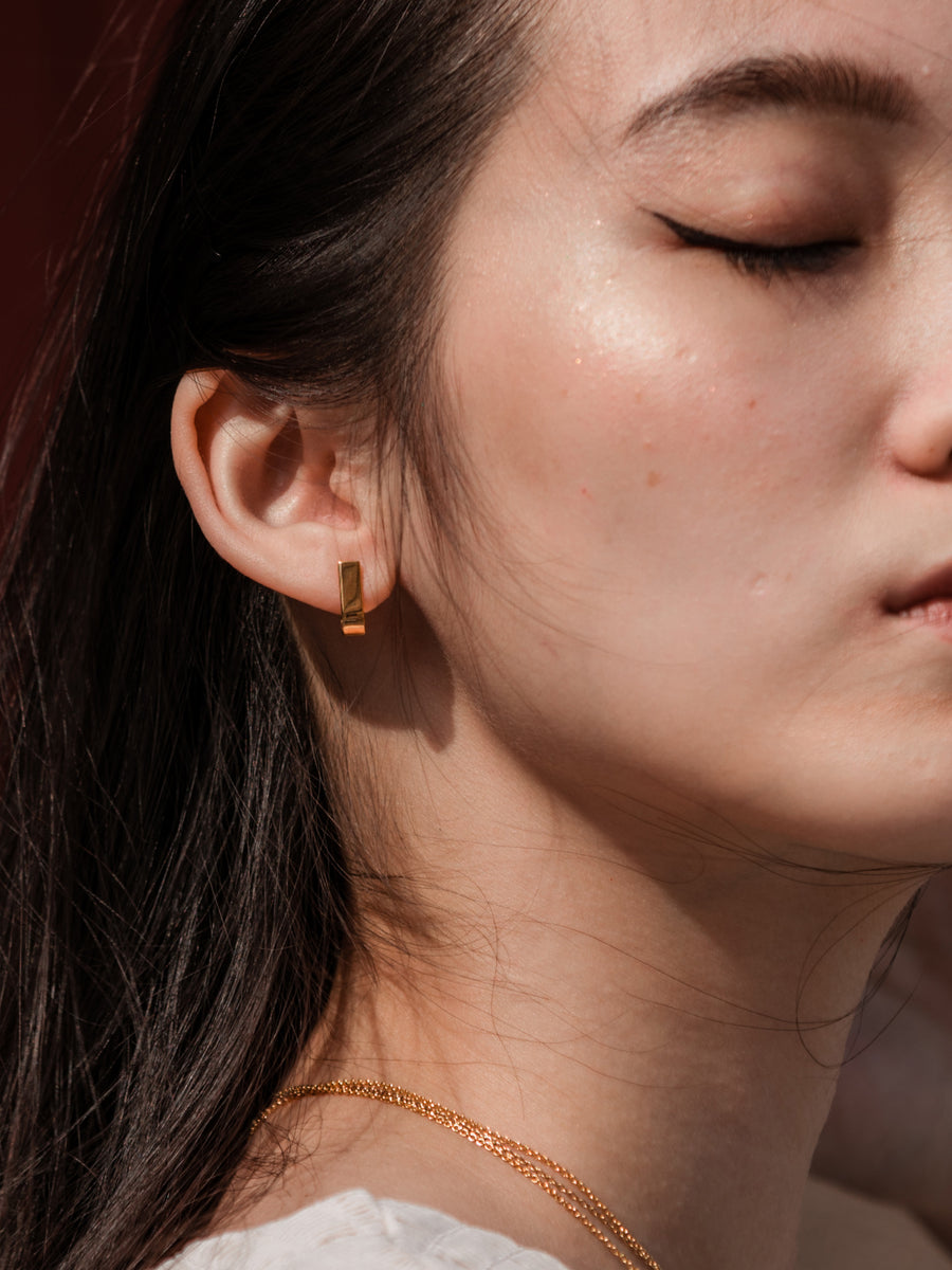Pave Ear Studs (Rose Gold)