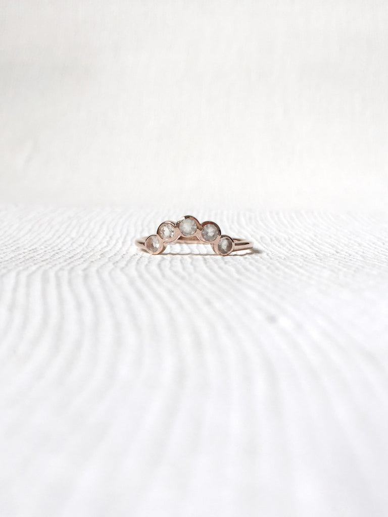 The Curve Ring - Green Amethyst on Rose Gold