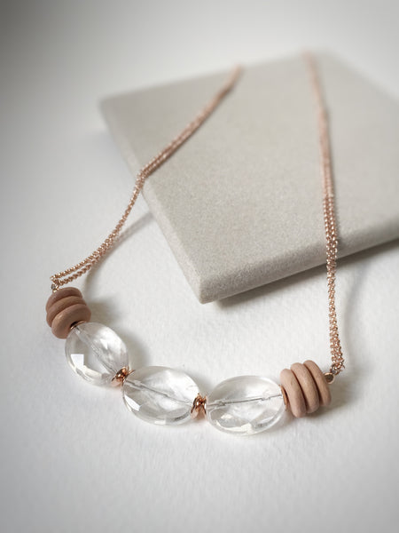 Clear Quartz & Wood on Rose Gold Necklace