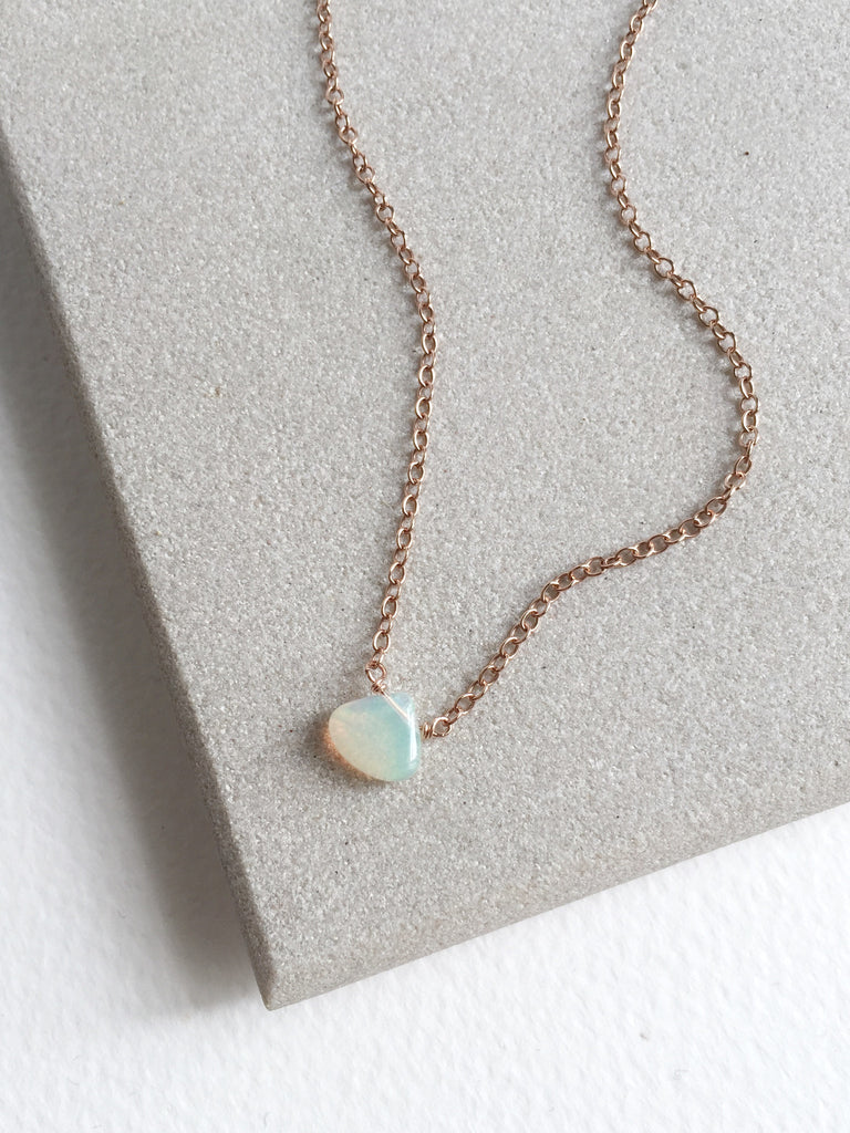 Ethiopian Opal Drop on Rose Gold